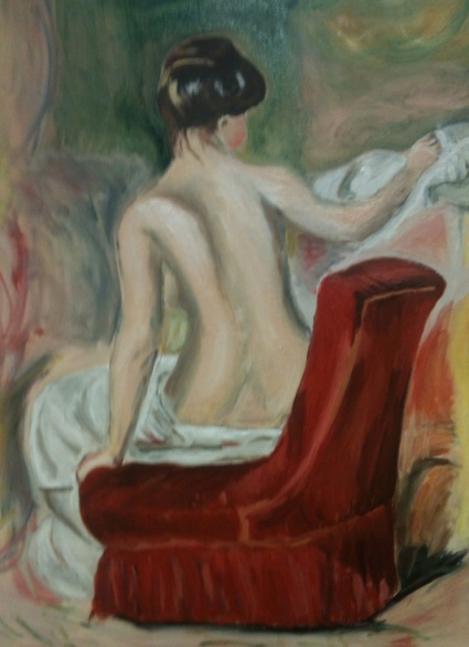 "Copy of Auguste Renoir's ""Nude in a Chair"", 2012. Oil on canvas, 16 x 20."