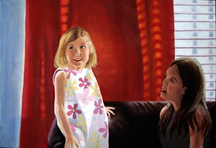Sisters,2006. Oil on canvas, 48 x 36.