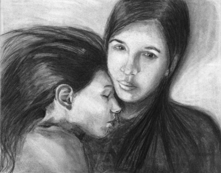 "Blevins, Kelly.""Sisters,"" 2013. Charcoal on paper, 24"" x 18"". Private collection."