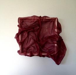"Kelly Blevins, Draped Fibre Sculpture #P01, 2014. Wood, polyester fibre, acrylic polymer, 12""x12""."