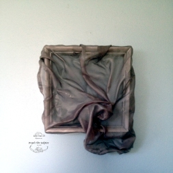 "Kelly Blevins, Draped Fibre Sculpture #S05, 2014. Wood, polyester fibre, acrylic polymer, 12""x12""."