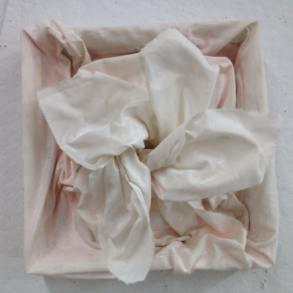 "Kelly Blevins, ""Untitled"", 2014. Cotton fibre, acrylic, and wood, 12""x12""."