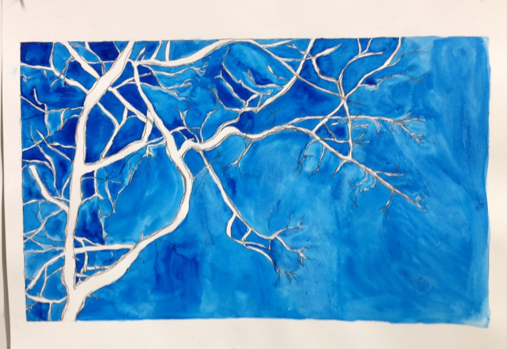 "Kelly Blevins, ""Oak 2"", 2014. Watercolor, gouache and graphite on paper, 22""x30""."